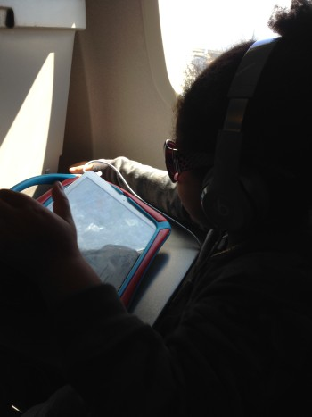 My son and I during our flight to Houston , Texas